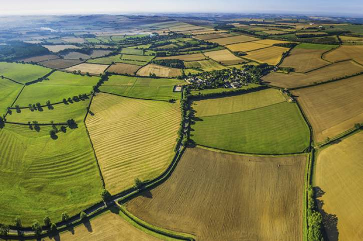 Picturesque aerial view over fields rural villages